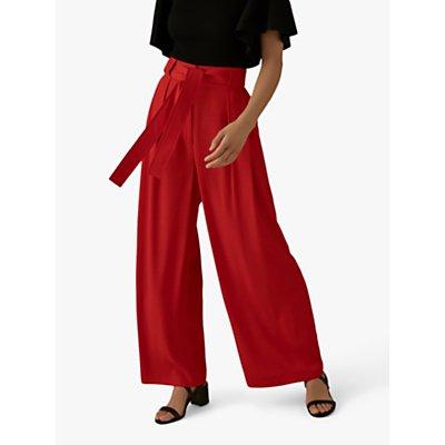 Karen Millen Wide Leg Tie-Waist Trousers, Red