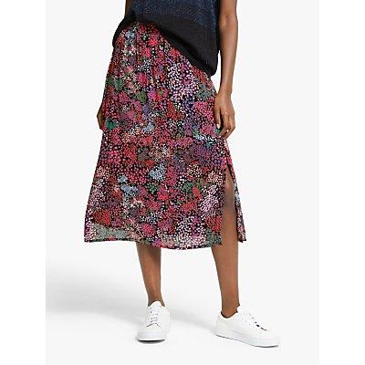 Numph Murran Floral Print Skirt, Caviar