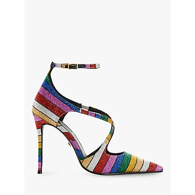 Dune Divaa Embellished Cross Strap Court Shoes, Multi
