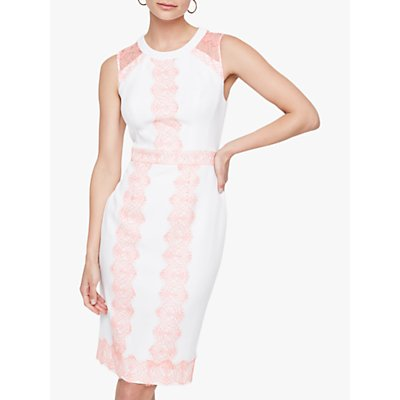 Damsel In A Dress Akria Lace Panel Dress, Ivory/Pink