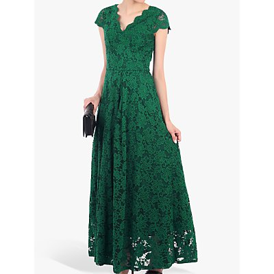 Jolie Moi Scallop V-Neck Lace Dress