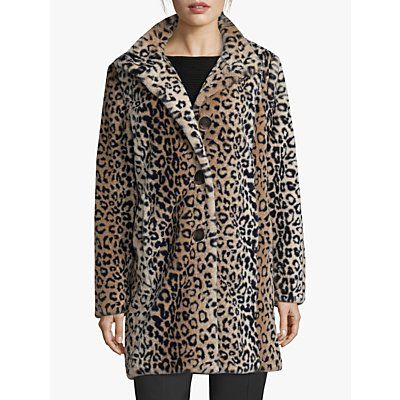 Betty Barclay Faux Fur Animal Print Coat, Camel/Black