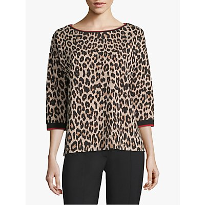 Betty Barclay Leopard Print Cotton Top, Camel/Black