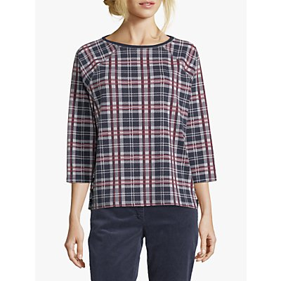 Betty Barclay Check Top, Dark Blue/Red
