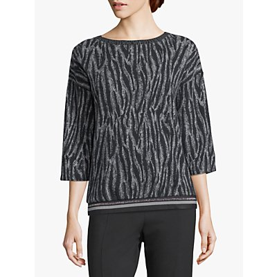 Betty Barclay Zebra Sweat Top, Grey/Black