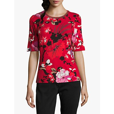 Betty Barclay Floral Print Top, Red/Black