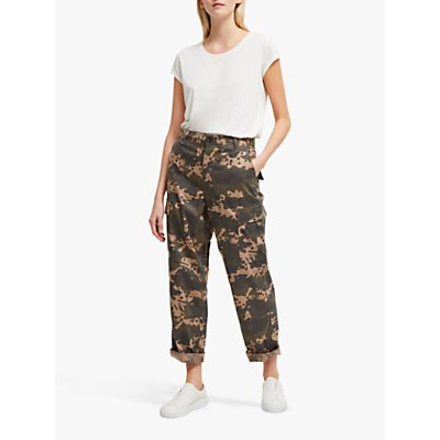 French Connection Carri Camo Cotton Trousers, Multi