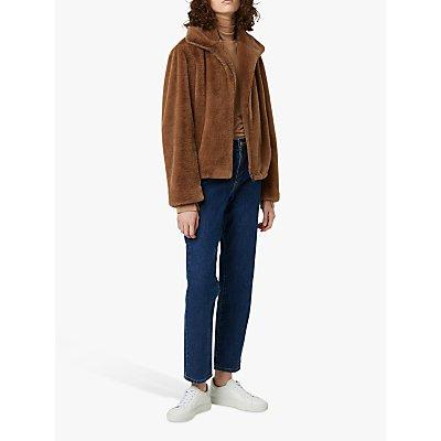 French Connection Buona Faux Fur Jacket, Mocha Mousse