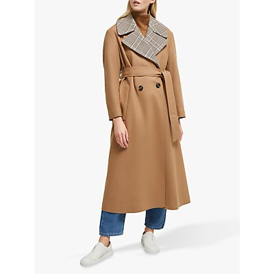 French Connection Carmelita Check Insert Coat, Camel
