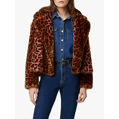 French Connection Analia Oversized Faux Fur Leopard Print Jacket, Rhubarb/Multi