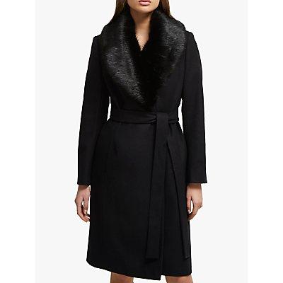 French Connection Carmelita Faux Fur Collar Long Coat, Black
