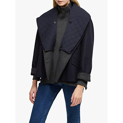 French Connection Carmelita Double Breasted Coat, Utility Blue