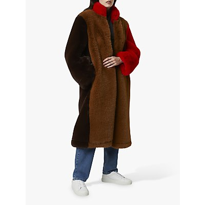 French Connection Claudie Faux Fur Colour Block Coat, Camel/Multi