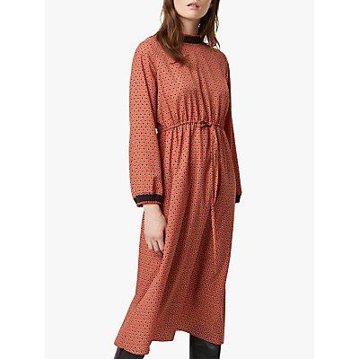 French Connection Caprice Long Sleeve Waist Dress, Cinnamon Stick/Multi