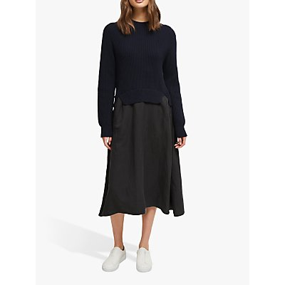 French Connection Sienna Mozart Two Piece Dress, Utility Blue/Washed Black