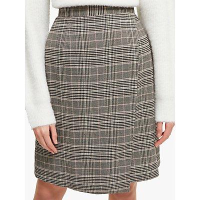 French Connection Amati Check Wrap Skirt, Grey Mutli