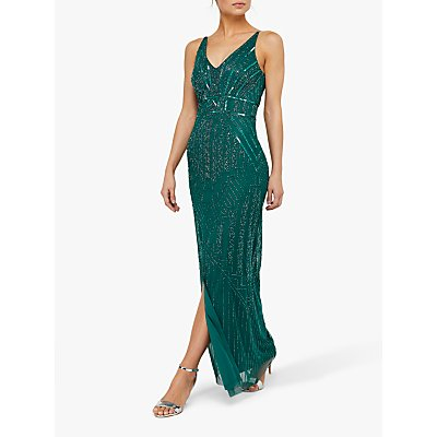 Monsoon Eva Embellished Maxi Dress, Green