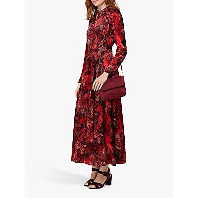 Monsoon Synthia Snake Print Shirt Dress, Red