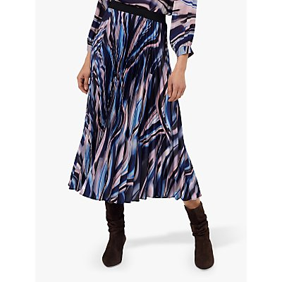 Monsoon Mabel Marble Print Skirt, Blue