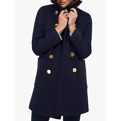 Monsoon Louis Funnel Neck Coat, Navy