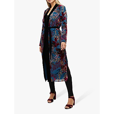 Monsoon Lyra Floral Devore Kimono Jacket, Teal