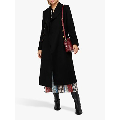 Monsoon Rosalie Fit and Flare Coat, Black