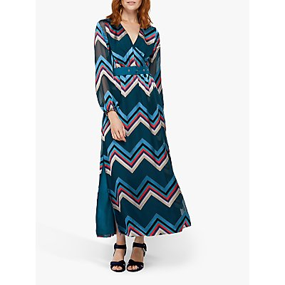 Monsoon Fearne Chevron Burnout Maxi Dress, Teal
