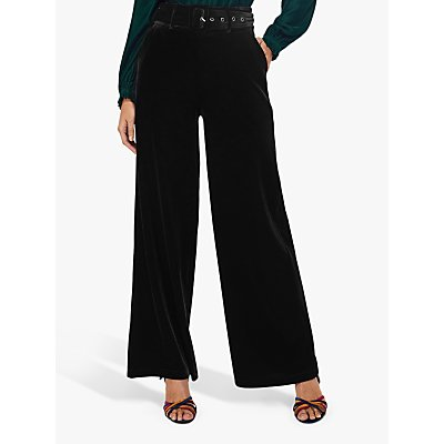 Monsoon Victoria Wide Leg Velvet Trousers, Black