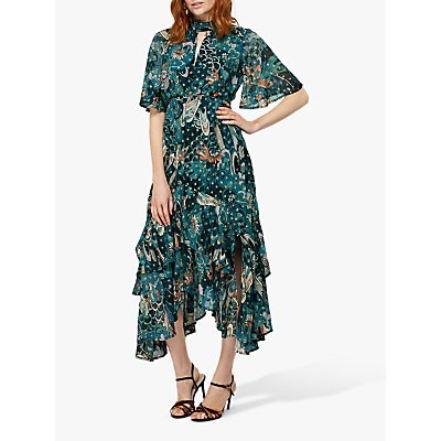 Monsoon Zoe Print Midi Hanky Dress, Teal