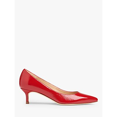 L.K.Bennett Audrey Crinkle Patent Pointed Toe Court Shoes, Bright Red