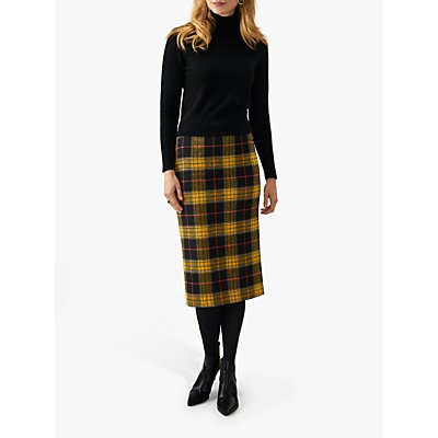 Pure Collection Wool Midi Check Skirt, Black/Yellow Check