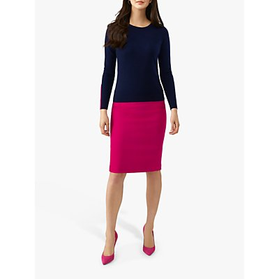 Pure Collection Wool Pencil Skirt, Bright Pink