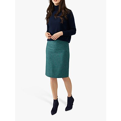 Pure Collection Wool Pencil Skirt, Green Dogtooth
