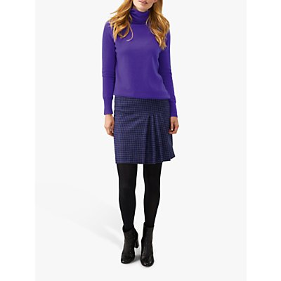 Pure Collection Pleat A Line Skirt, Violet Dogtooth