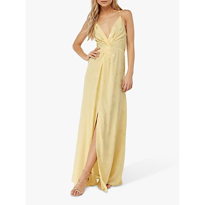 Monsoon Karlie Front Knot Jacquard Dress, Yellow