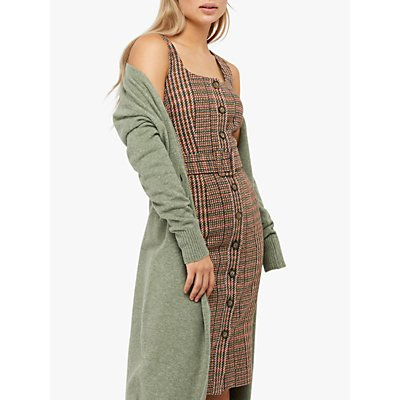 Monsoon Patsy Check Midi Dress, Brown