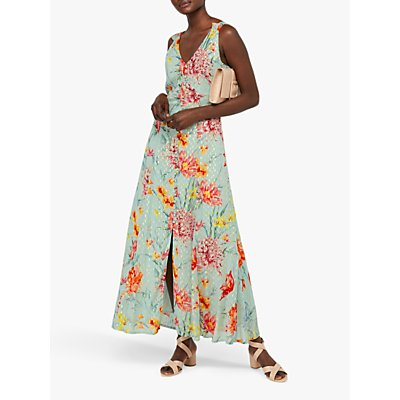 Monsoon Hollie Floral Print Maxi Dress, Green