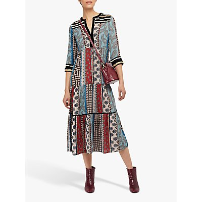 Monsoon Leonie Patch Print Midi Dress, Black