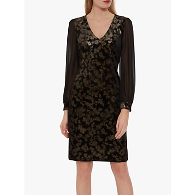 Gina Bacconi Imari Velvet Dress, Black/Gold