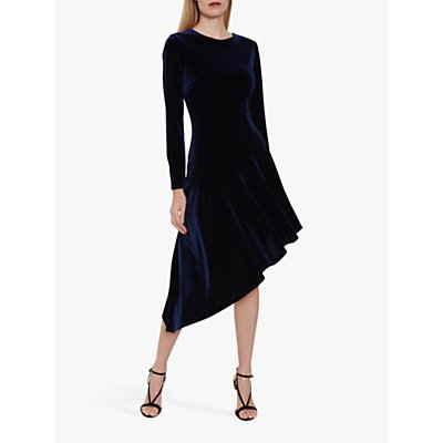 Gina Bacconi Olive Velvet Asymmetric Dress, Navy