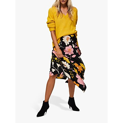 Selected Femme Cadence Floral Midi Skirt, Black