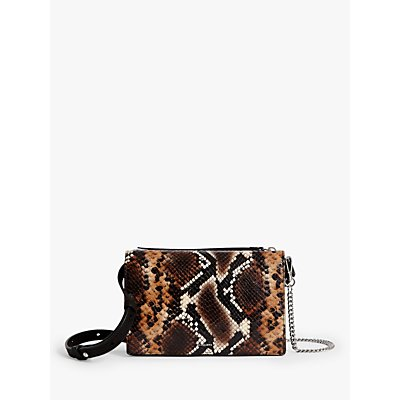 AllSaints Fetch Leather Snake Print Chain Wallet Bag, Brown