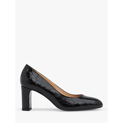 L.K.Bennett Winola Croc Leather Court Shoes, Black