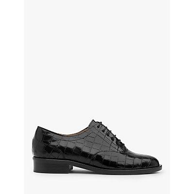 L.K.Bennett Jamie Croc Effect Leather Brogues, Black