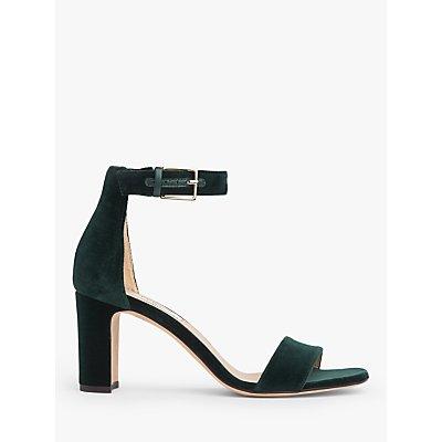 L.K.Bennett Nora Velvet Strappy Sandals, Forest Green