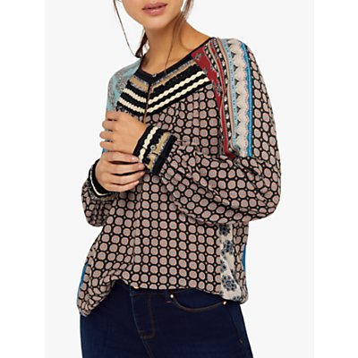 Monsoon Leonie Pattern Blouse, Black/Multi