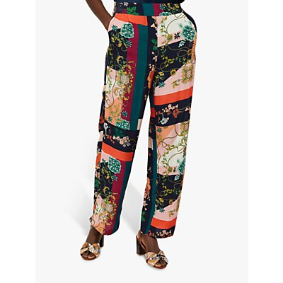 Monsoon Paloma Printed Trousers, Navy