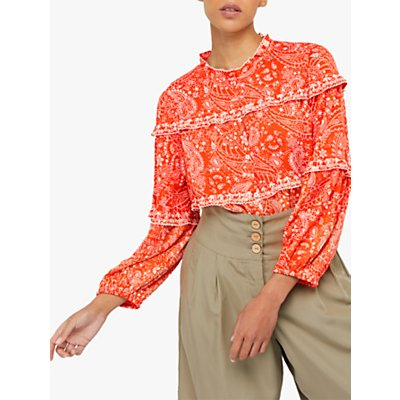 Monsoon Misty Paisley Print Blouse, Orange