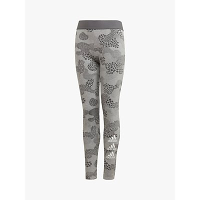 adidas Girls' Graphic Print Leggings, Grey