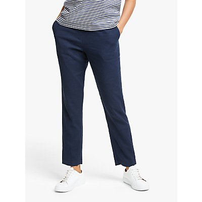 Collection WEEKEND by John Lewis Easy Linen Blend Elasticated Trousers, Navy